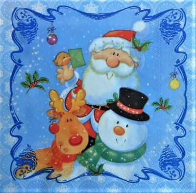 4 x Single Paper Napkins Baubles Deer for Decoupage and Crafting 84