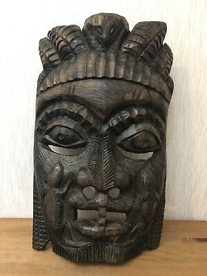 Antique Quality Large Heavy Hand Carved Ethnic African Tribal Wooden Face Mask