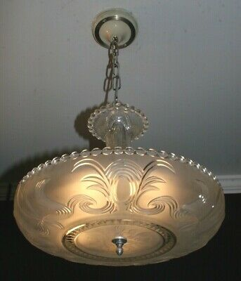 Antique frosted 16 inch glass shade Art Deco light fixture chandelier authentic