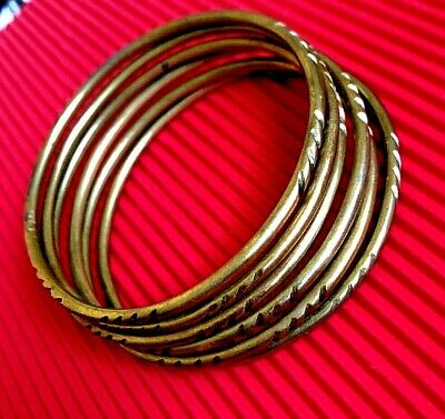 Set Of 6 ANCIENT VIKING Medieval BRONZE BRACELETS museum Quality VERY Stunning