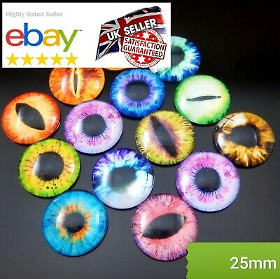 10Pcs x 25mm ANIMAL EYES GLASS CABOCHON Flatback Charms & Cabachons GOOGLY EYES