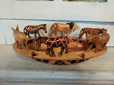 Wooden Bowl With Hand Carved Animals Around the Rim