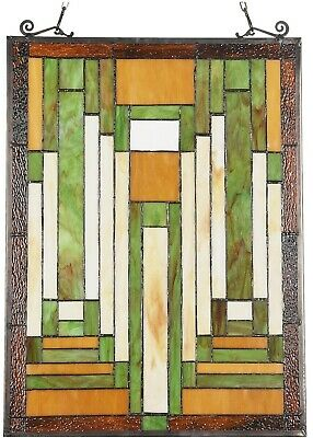 """24.6"""" X 17.7"""" Modern Mission Tiffany Style Stained Glass Window Panel Home Decor"""