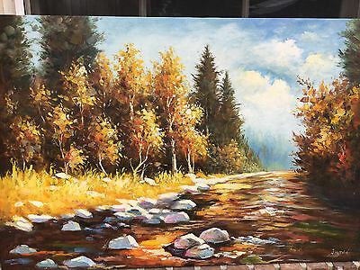 "Oil Painting Autumn Landscape 24""x36"" New/ Beautiful"