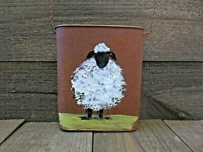 Hand Painted Primitive Country Sheep Rusty Pail Wall Pocket Farmhouse Decor