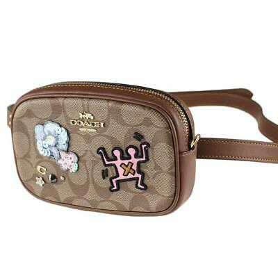 f63a662ec653 Coach Keith Haring Khaki Signature Canvas with Patches Convertible Belt Bag  F556