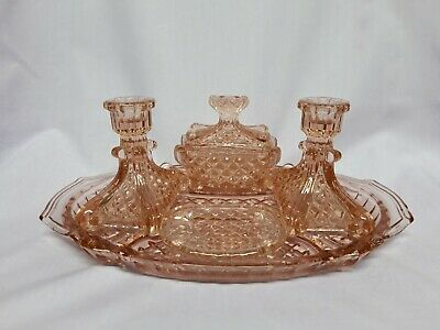 Art Deco 1930's pink glass dressing table set. Absolutely beautiful.