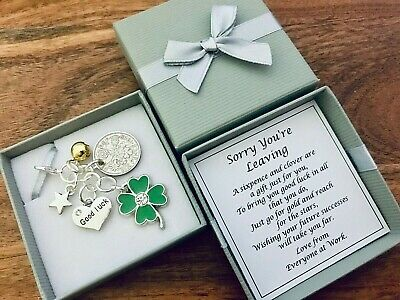LUCKY SIXPENCE SORRY YOU'RE LEAVING charm, keyring, CLOVER, gift, PERSONALISED