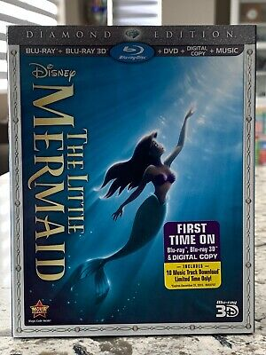 Disney's THE LITTLE MERMAID Diamond Edition Blu-ray Bluray 3D DVD + Slipcover