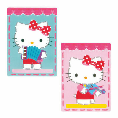 Embroidery Kit Invite Cards Kitty Plays Music (Five) Stitched on Yarn|18.5x26cm