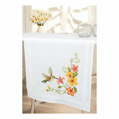 Embroidery Kit Runner Hummingbird Design Stitched on Cotton Fabric| 40 x 100cm