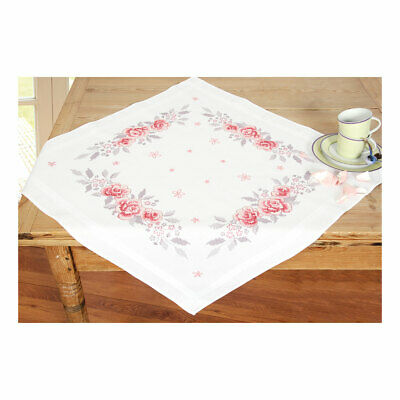 Embroidery Kit Tablecloth  Pink Roses Design Stitched on Cotton Fabric|80 x 80cm
