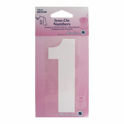 Hemline Iron-On Number 1 Suitable for Sport, dance, and Gym Wear | 10cm | White