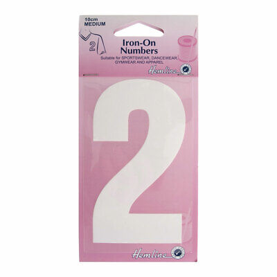 Hemline Iron-On Number 2 Suitable for Sport, dance, and Gym Wear | 10cm | White