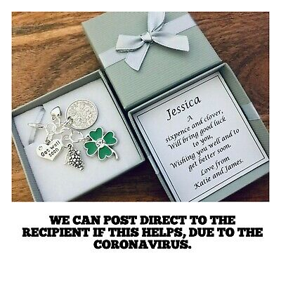 LUCKY SIXPENCE, GET WELL SOON, illness, hospital, PERSONALISED, GIFT BOX