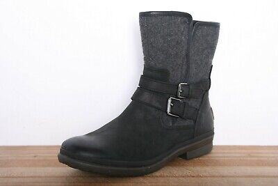 38ad6a66b49 UGG 'LORNA' SOFT Black Leather & Wool Shearling Lined Boots Women's Sz. 10
