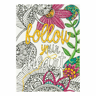DIMENSIONS |Embroidery Kit: Follow Your Heart - Colour Your Own Quote D71-06246
