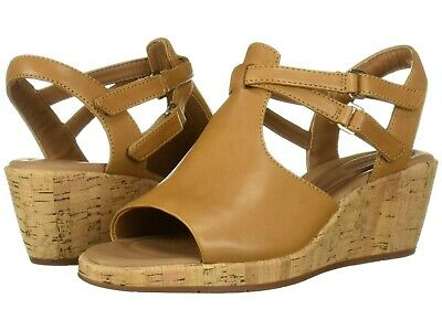 32d7d3aadc5 Women s Shoes Clarks Un Plaza Way Caged Open Toe Wedge 40374 Tan Leather   New