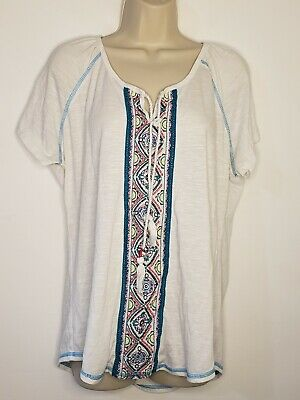 Maurices Womens Plus Size 1 Shirt Short Sleeve Boho Embroidered Tassels(gg472