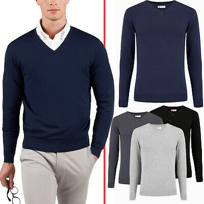Mens New Cotton V Neck Sweater Knitwear Soft Top Pullover Winter Jumper Branded