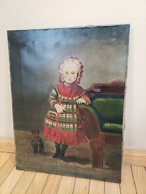 Mid-19th Century Oil Painting Cute Young Girl w/ Dog Portrait Victorian Antique
