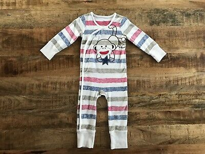 Sock Monkey Baby Girl Coverall Pajamas Size 3 6 9 12 Months Cheetah Ivory Outfit