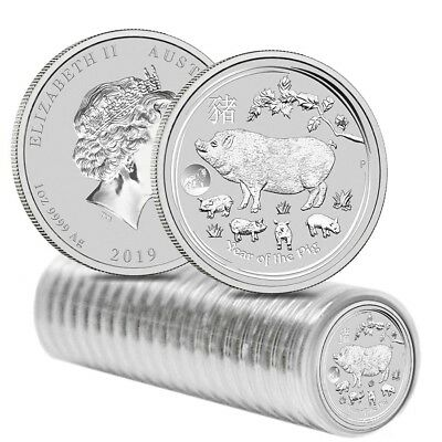 Roll of 20 - 2019 1 oz Silver Lunar Year of The Pig Lion Privy BU Australian