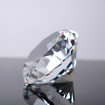 100 mm Clear Cut Glass Faceted Crystal Giant Diamond Paperweight with Gift Box