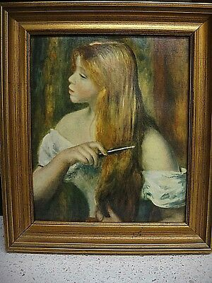 "Renoir - ""Young Girl Combing Her Hair"" - Print On Canvas From The Louvre -1969"