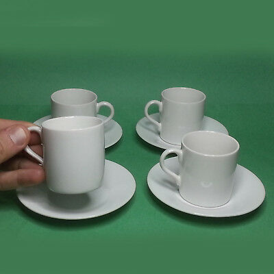 Set of 4 Espresso Cup with Saucer Fine Porcelain White