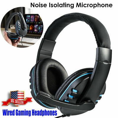 Gaming Headset Stereo Surround Headphone 3.5mm Wired Earphone For PS4 Laptop NEW