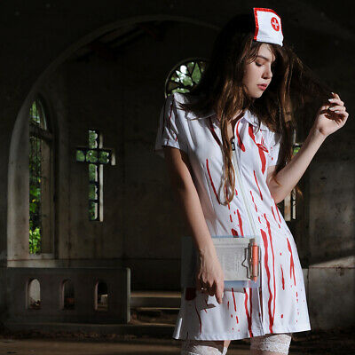 45fd3d931a101 Funny Cosplay Horror Bloody Nurse Zombie Halloween Fancy Dress Party Costume