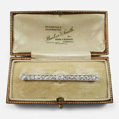 1920s Cased Art Deco Platinum, Gold, and 1.72cts Diamond Bar Brooch
