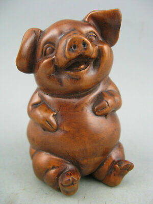 Antique Chinese Old Boxwood Hand Carved Pig Collectible Statue
