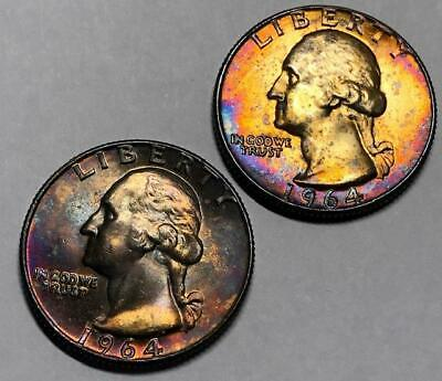 1964-D x2 Silver Washington Quarters from Old Bank Roll * 2 Rainbow Toned Qtrs*