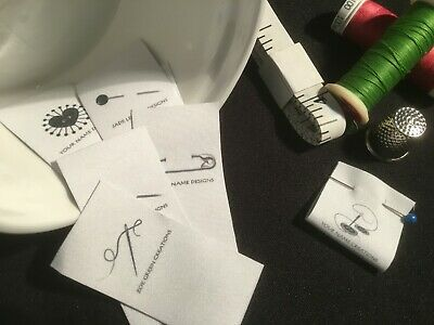 20 x Fabric Sewing Labels Premade Logo - Needles & Pins