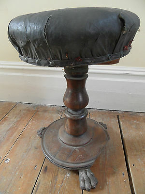 Antique GEORGE III 3rd Rosewood Revolving Round Piano Dressing Table Stool Seat