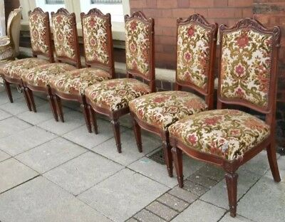 Set of 6 Antique Vintage Shabby Chic French LOUIS WALNUT Carved Dining Chairs