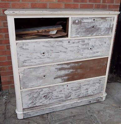 LARGE Vintage Antique Victorian RUSTIC Tall 2 Over 3 Chest 5 Drawers Sideboard