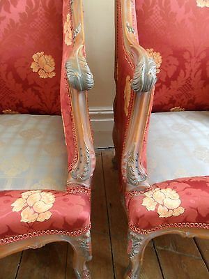 Antique Vintage Floral Shabby Chic French ROCOCO Louis Carved Throne Arm Chair