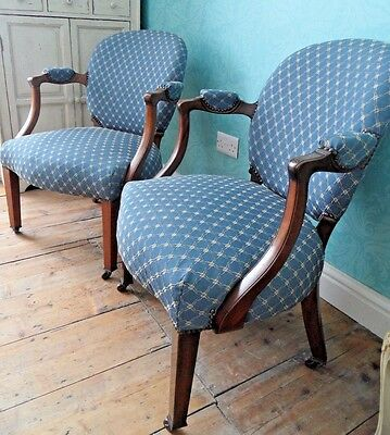 PAIR Antique Victorian Vintage Fireside Mahogany REGENCY ArmChairs Chairs Castor