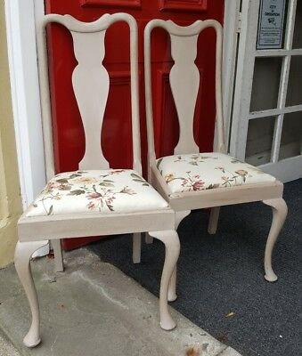 VINTAGE Shabby Chic Queen Anne French Grey Painted Floral Dining Hall Chair