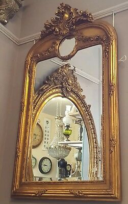 New Tall Antique Vintage French Gold Gilt Ornate Frame Overmantle Wall Mirror