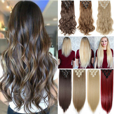ON CLEARANCE Clip in 100% Real Natural Human Hair Extensions 8 Piece Long Wavy