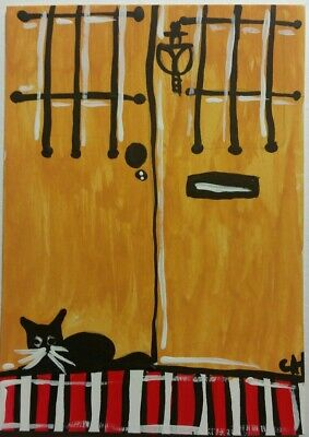 ACEO ORIGINAL BLACK CAT YELLOW DOOR FOLK ACRYLIC WATERCOLOR 2000-now