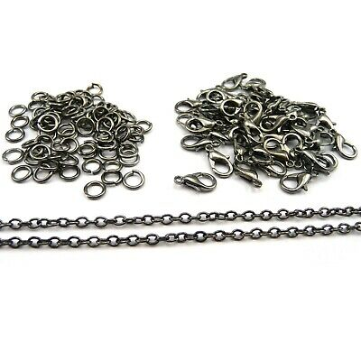 Jewellery Making Findings Gunmetal Grey Chain, Clasps, Jump Rings SD1