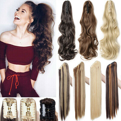 UK Lady Claw On Mega Thick Pony Tail Clip In Hair Extensions Long Curly Ponytail