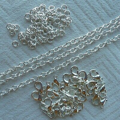Silver Plated Chain, Clasps, Jump Rings Jewellery Making Findings KS-1