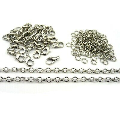 Antique Silver Plated Chain, Clasps, Jump Rings Jewellery Making Findings KS-1