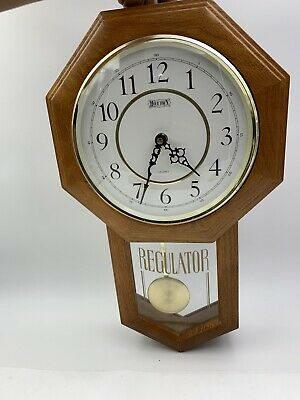 Hour Town Oak Regulator Schoolhouse Wall Clock w/ Westminster Chime